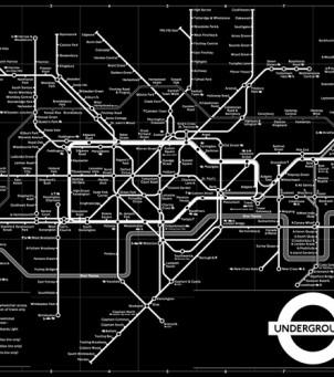 Affiche / Poster «Plan du métro Londres – N&B»